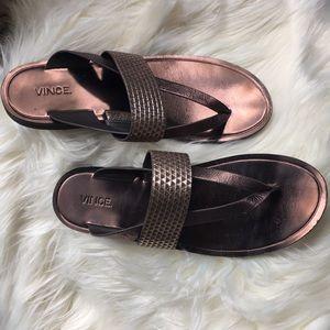 Vince Tess Bronze Thong sandals